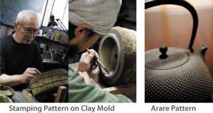 Las teteras de hierro se hacen a mano en moldes de arena o arcilla